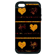 Yellow Harts Pattern Apple Iphone 5 Hardshell Case (pc+silicone) by Valentinaart