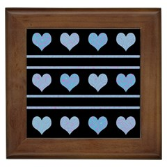 Blue Harts Pattern Framed Tiles by Valentinaart