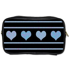 Blue Harts Pattern Toiletries Bags by Valentinaart