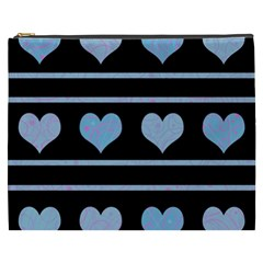 Blue Harts Pattern Cosmetic Bag (xxxl)  by Valentinaart