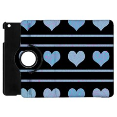 Blue Harts Pattern Apple Ipad Mini Flip 360 Case by Valentinaart