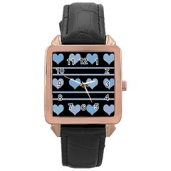 Blue Harts Pattern Rose Gold Leather Watch  by Valentinaart