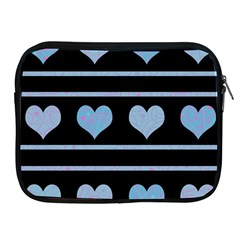Blue Harts Pattern Apple Ipad 2/3/4 Zipper Cases by Valentinaart