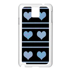 Blue Harts Pattern Samsung Galaxy Note 3 N9005 Case (white) by Valentinaart