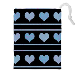 Blue Harts Pattern Drawstring Pouches (xxl)