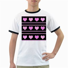 Pink Harts Pattern Ringer T-shirts by Valentinaart