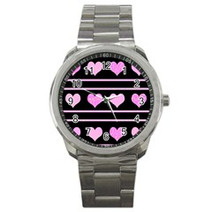 Pink Harts Pattern Sport Metal Watch by Valentinaart