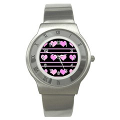 Pink Harts Pattern Stainless Steel Watch by Valentinaart