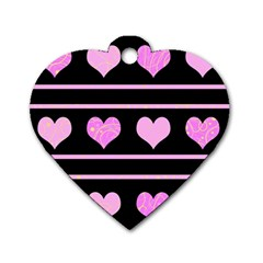 Pink Harts Pattern Dog Tag Heart (two Sides) by Valentinaart