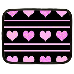 Pink Harts Pattern Netbook Case (large) by Valentinaart