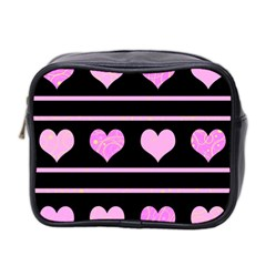 Pink Harts Pattern Mini Toiletries Bag 2 Side