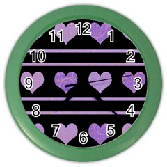 Purple Harts Pattern Color Wall Clocks by Valentinaart