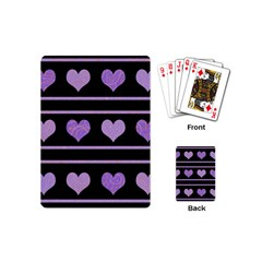 Purple Harts Pattern Playing Cards (mini)  by Valentinaart