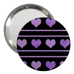 Purple Harts Pattern 3  Handbag Mirrors by Valentinaart