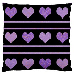 Purple Harts Pattern Large Flano Cushion Case (one Side) by Valentinaart
