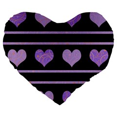 Purple Harts Pattern Large 19  Premium Flano Heart Shape Cushions by Valentinaart