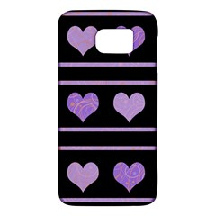 Purple Harts Pattern Galaxy S6 by Valentinaart