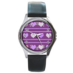 Purple Harts Pattern 2 Round Metal Watch by Valentinaart