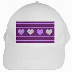 Purple Harts Pattern 2 White Cap by Valentinaart