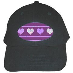 Purple Harts Pattern 2 Black Cap by Valentinaart