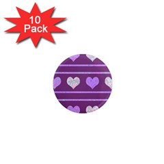 Purple Harts Pattern 2 1  Mini Magnet (10 Pack)  by Valentinaart