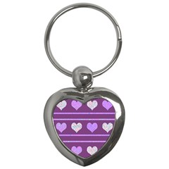 Purple Harts Pattern 2 Key Chains (heart)  by Valentinaart