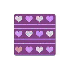 Purple Harts Pattern 2 Square Magnet by Valentinaart
