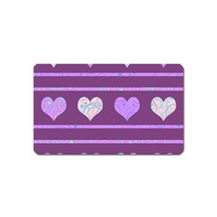 Purple Harts Pattern 2 Magnet (name Card) by Valentinaart