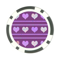 Purple Harts Pattern 2 Poker Chip Card Guards