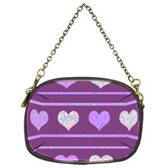 Purple Harts Pattern 2 Chain Purses (two Sides)  by Valentinaart