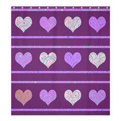 Purple Harts Pattern 2 Shower Curtain 66  X 72  (large)  by Valentinaart