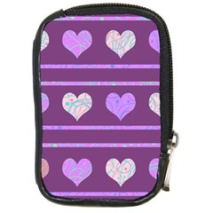 Purple Harts Pattern 2 Compact Camera Cases by Valentinaart