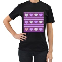 Purple Harts Pattern 2 Women s T Shirt (black)