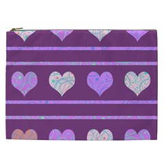 Purple Harts Pattern 2 Cosmetic Bag (xxl)  by Valentinaart
