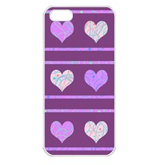 Purple Harts Pattern 2 Apple Iphone 5 Seamless Case (white)