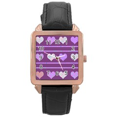 Purple Harts Pattern 2 Rose Gold Leather Watch  by Valentinaart