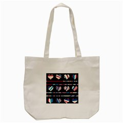 Colorful Harts Pattern Tote Bag (cream) by Valentinaart