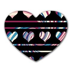 Colorful Harts Pattern Heart Mousepads by Valentinaart