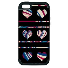 Colorful Harts Pattern Apple Iphone 5 Hardshell Case (pc+silicone) by Valentinaart