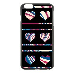 Colorful Harts Pattern Apple Iphone 6 Plus/6s Plus Black Enamel Case by Valentinaart