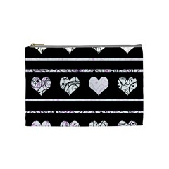 Elegant Harts Pattern Cosmetic Bag (medium)  by Valentinaart