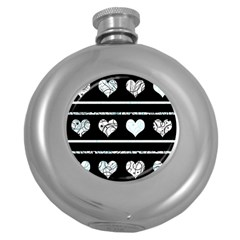 Elegant Harts Pattern Round Hip Flask (5 Oz) by Valentinaart