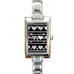Elegant Harts Pattern Rectangle Italian Charm Watch by Valentinaart