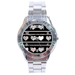 Elegant Harts Pattern Stainless Steel Analogue Watch by Valentinaart
