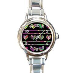 Colorful Harts Pattern Round Italian Charm Watch by Valentinaart