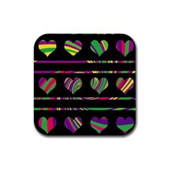 Colorful Harts Pattern Rubber Coaster (square)  by Valentinaart