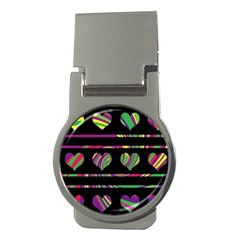 Colorful Harts Pattern Money Clips (round)  by Valentinaart