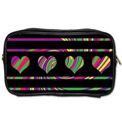 Colorful Harts Pattern Toiletries Bags 2 Side by Valentinaart