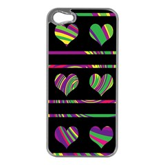 Colorful Harts Pattern Apple Iphone 5 Case (silver) by Valentinaart