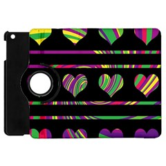 Colorful Harts Pattern Apple Ipad Mini Flip 360 Case by Valentinaart